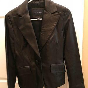 Banana Republic black leather blazer